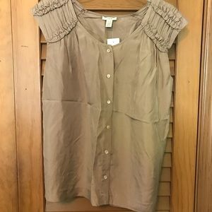 J.CREW Silk Ruched Cap Sleeve Button-down Blouse